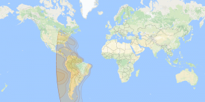 Telstar 12 Vantage: Pan America footprint map